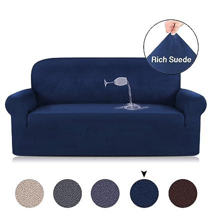 Amazon.com: Stretch Navy Blue Sofa Covers Spandex Suede Sofa Cover ...