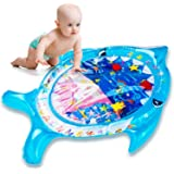 Ayeboovi Tummy Time Mat Inflatable Baby Water Mat Infant Toy for 3 -12 Months Boy and Girl with Baby Shark Shape