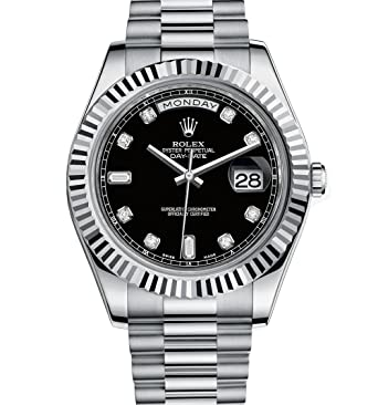2e5b776a4ab Amazon.com  Rolex Day Date II Automatic Black Dial 18kt White Gold ...