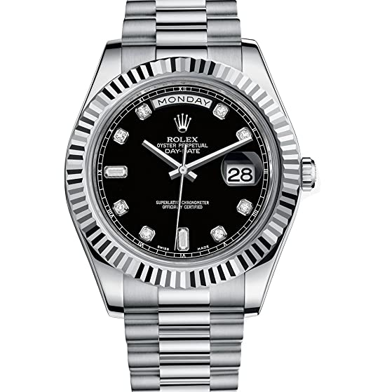Rolex día Fecha II Automático Negro Dial 18 kt Blanco Oro Mens Reloj 218239bkrp: Amazon.es: Relojes