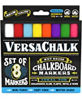 Chalk Markers for Chalkboard by VersaChalk (Reversible Tip, Neon) - Erasable Dustless Water-Based Non-Toxic Liquid Wet Erase Pens