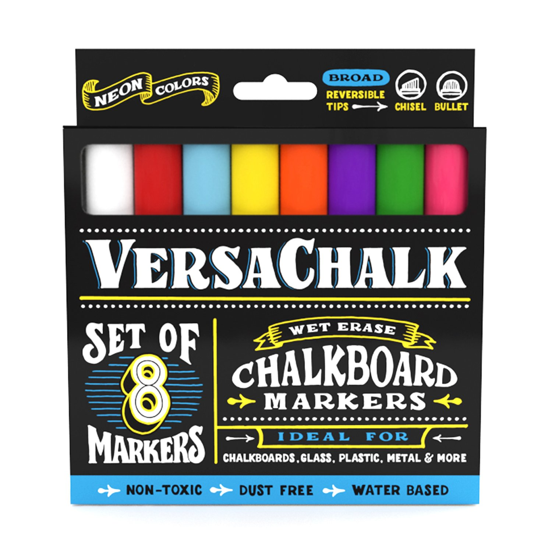 Chalk Markers for Chalkboard by VersaChalk (Reversible Tip, Neon) - Erasable Dustless Water-Based Non-Toxic Liquid Wet Erase Pens