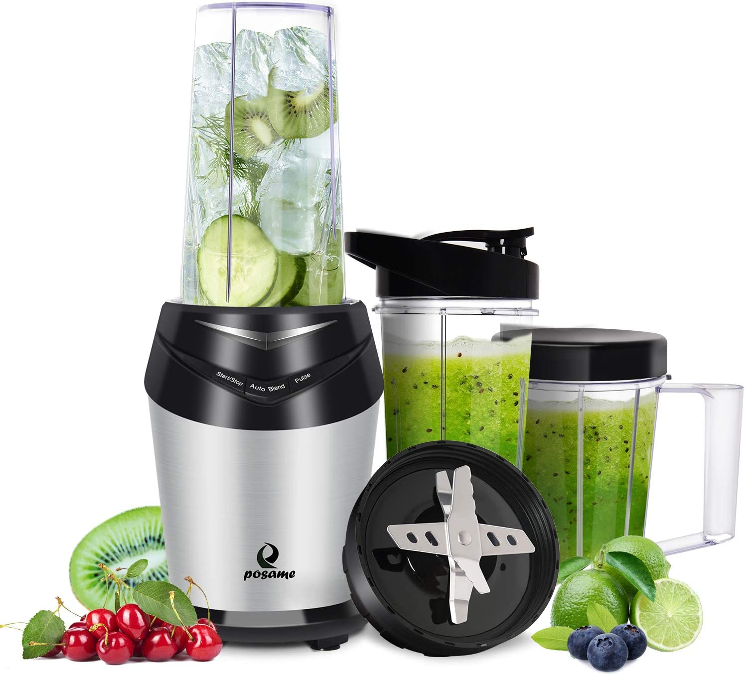 Blender 800W Smoothie Blender Mini High-Speed Personal Blender/Mixer Bullet Blender for Shakes and Smoothies Juices Nuts Coffee Bean Baby Food with 3pcs BPA-Free Portable Travel Blender Bottles in Silver
