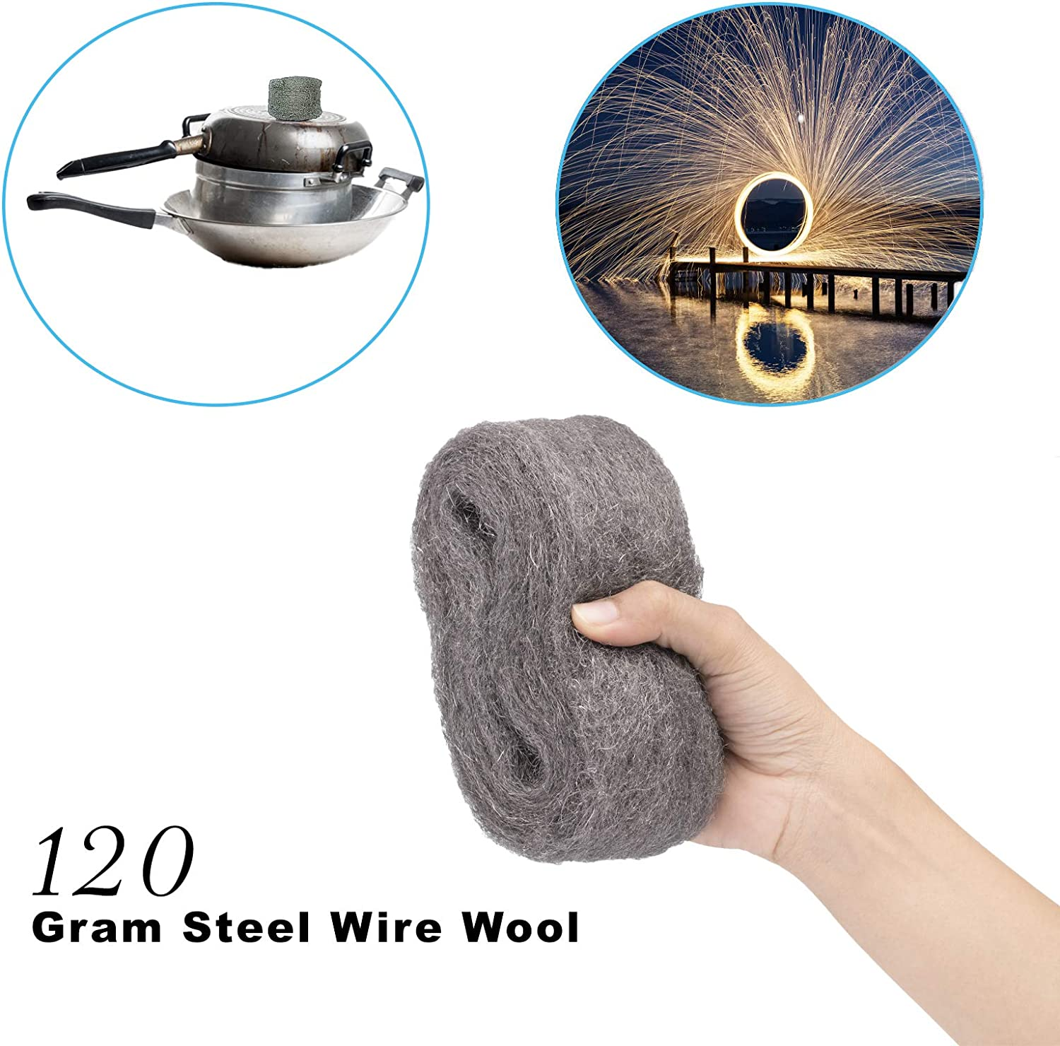 Grade 0000 Steel Wool Wire Wool for Glass Furniture Polishing Cleaning AKORD 120 g Steel Wire Wool