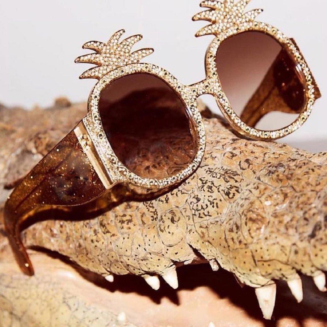 YABINA Oversized Round Sunglasses Women Pineapple Frame Fashion Modern Shades (A) by YABINA (Image #3)