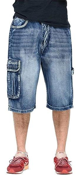 Jeans Da Uomo 3 4 Jeans Cargo Ragazzo Hip Hop Pantaloni A Vita Bassa  Pantaloni Corti 5851f5d4765