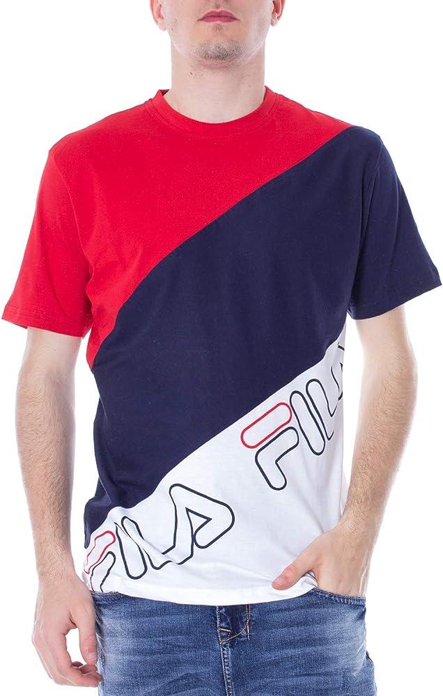 Fila Vintage Hombre Camiseta Grove Bloque Diagonal, Blanco, X-Small: Amazon.es: Ropa y accesorios