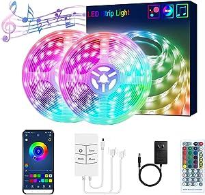 65.6FT/20M LED Strip Lights RGB LED Light Strip Music Sync RGB LED Strip,5050 SMD Color Changing LED Strip Light APP Controller + 24 Key Remote LED Lights for Bedroom Home Party