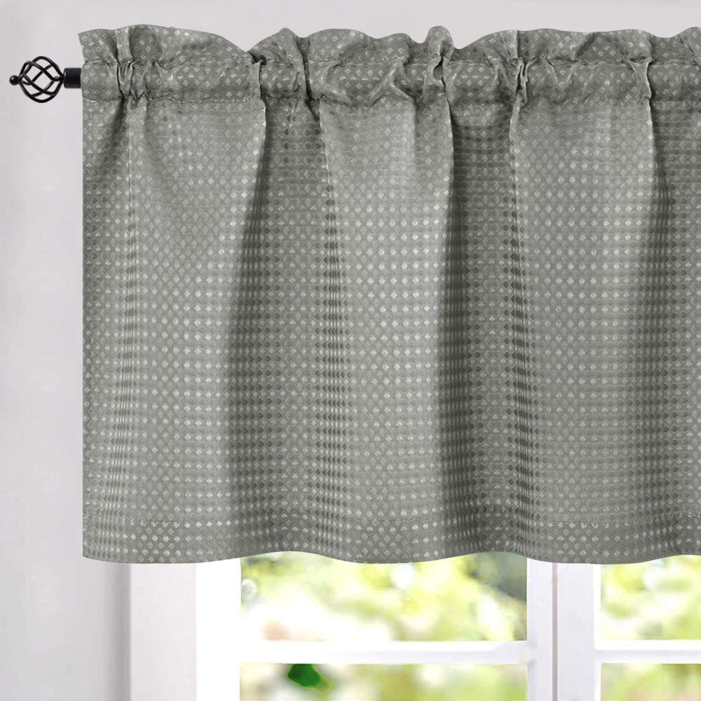 jinchan Waffle Woven Valance Waterproof Kitchen Window Treatment Set 60 by  18 Inch Grey One Panel