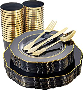WDF 30Guest Clear Black Plastic Plates with Gold Rim& Disposable Plastic Silverware &Gold Plastic Cups include 30 Dinner Plates,30 Salad Plates,30 Forks, 30 Knives, 30 Spoons, 30 Tumblers