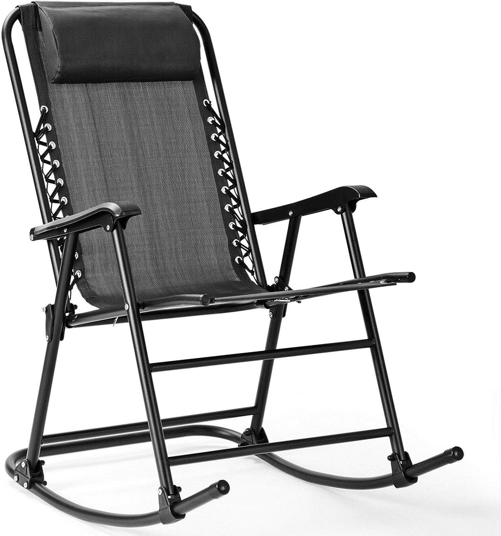 Grey Folding Zero Gravity Rocking Chair Rocker Armrest Comfortable Headrest Glider Porch Seat Backyard Patio Lawn Deck Outdoor Garden Pool Side Furniture Solid Steel Construction Ergonomic Design