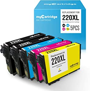 myCartridge Remanufactured Replacement for Epson 220 220XL T220XL Ink Cartridge (2 Black, 1 Cyan, 1 Magenta, 1 Yellow, 5 Pk) Fit for Epson Workforce WF-2630 WF-2650 WF-2750 WF-2760 XP-320 XP420