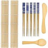 9 PCS Premium Sushi Making Kit, Sushi Mat, Including 2 Sushi Roller - Glue Free, 5 Pairs of Chopsticks, 1 Paddle, 1 Spreader,