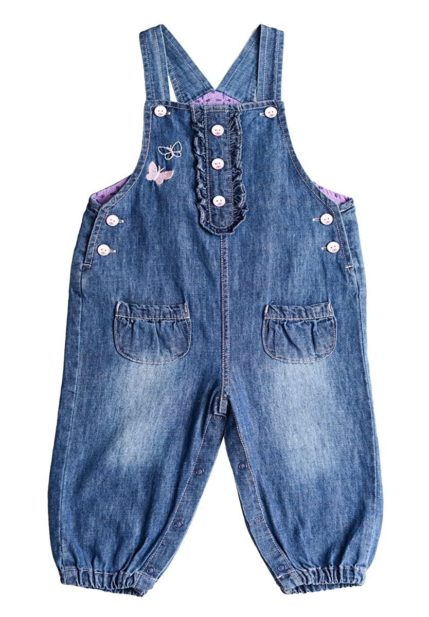 BAIXITE Baby & Little Girls Soft Embroidered Denim Overalls Solid Lining Washed Jeans Dungarees (3-24 Months)