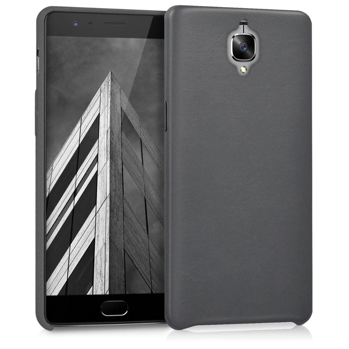 kwmobile Funda para OnePlus 3 / 3T - Carcasa de Cuero sintético para móvil - Cover Trasero en Antracita