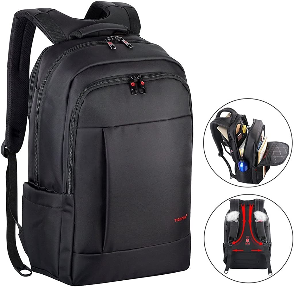 Kuprine Laptop Backpack for Men & Women, Business Travel Anti Theft Laptops Backpack with Headphone Hole, Water Resistant College School Bookbag, 17 Inch Computer Backpack Gifts for Men & Women, Black