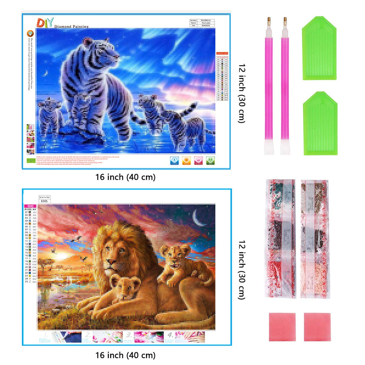 2 Pack 5D Diamond Painting Tigers /& Lions Full Drill by Number Kits for Adults Kids Ginfonr Craft Rhinestone King of Polar Regions /& Oasis Paint with Diamonds Set Animal Arts Decorations 12x16inch