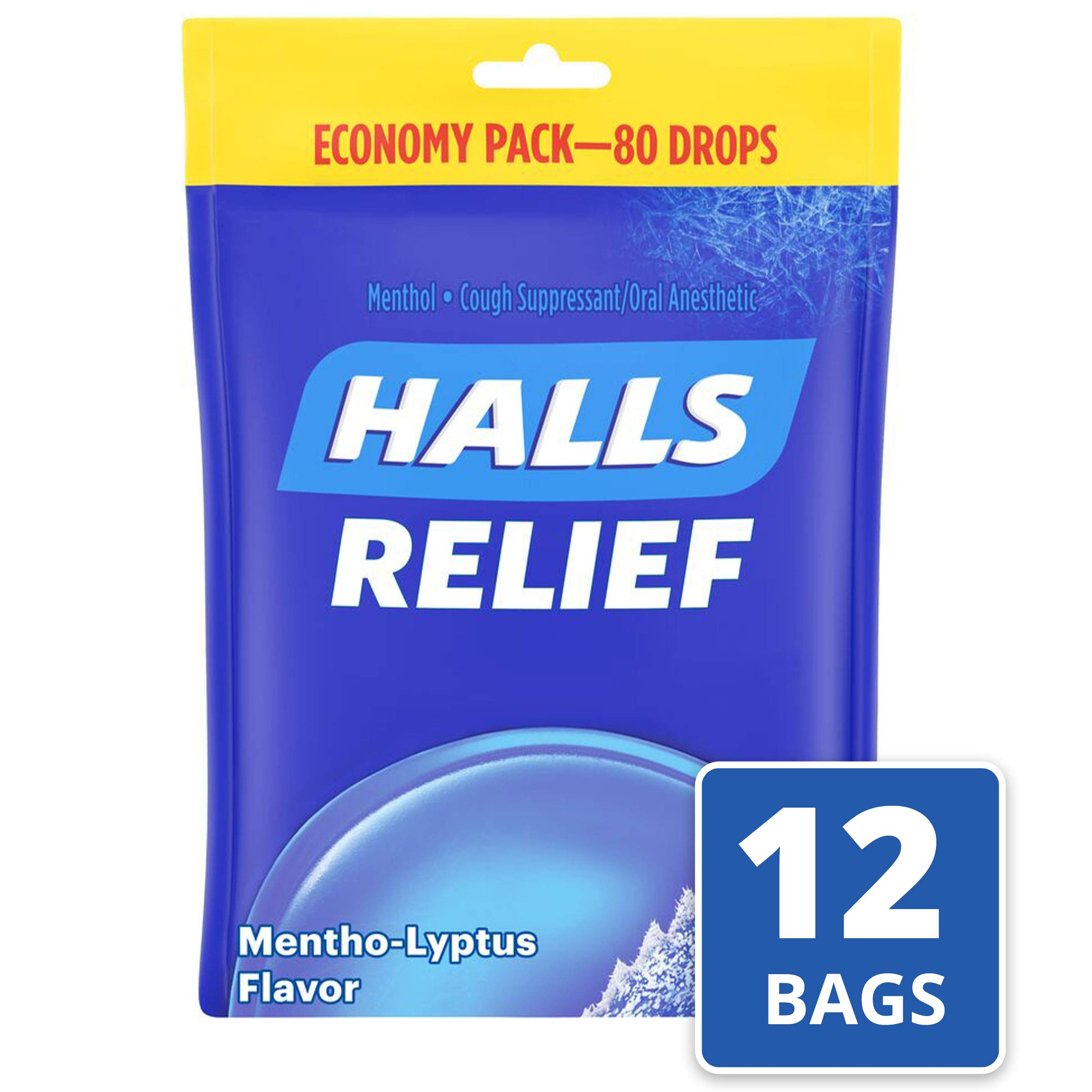 Halls Mentho-Lyptus Cough Drops - with Menthol - 960 Drops (12 bags of 80 drops) by Halls