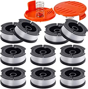 "Fyange Line String Trimmer Replacement Spool 30ft 0.065"" for AF-100, 10 Pack 30ft 0.065"" String Trimmer Line Replacement Spools + 2 Pack RC-100-P Caps&Springs (10 Spools+ 2 Caps+2 Springs)"