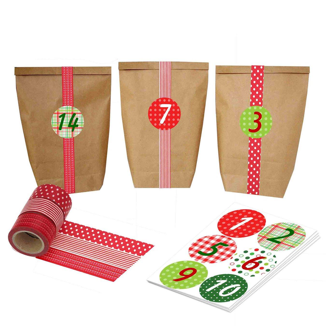 Papierdrachen Calendario dell'Avvento Fai-da-Te, da Creare a Piacere - Kit Completi con 24 bustine e Nastro di washi Rosso - No. 5
