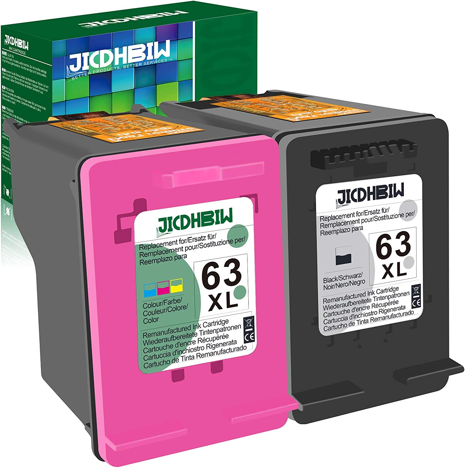 JICDHBIW Remanufactured Ink Cartridge Replacement for HP 63XL 63 XL Black Tri-Color (2 Pack), Work with Envy 4520 3634 OfficeJet 3830 5252 4650 5258 4655 4652 5255 DeskJet 3636 1111 3630 1112 Printer
