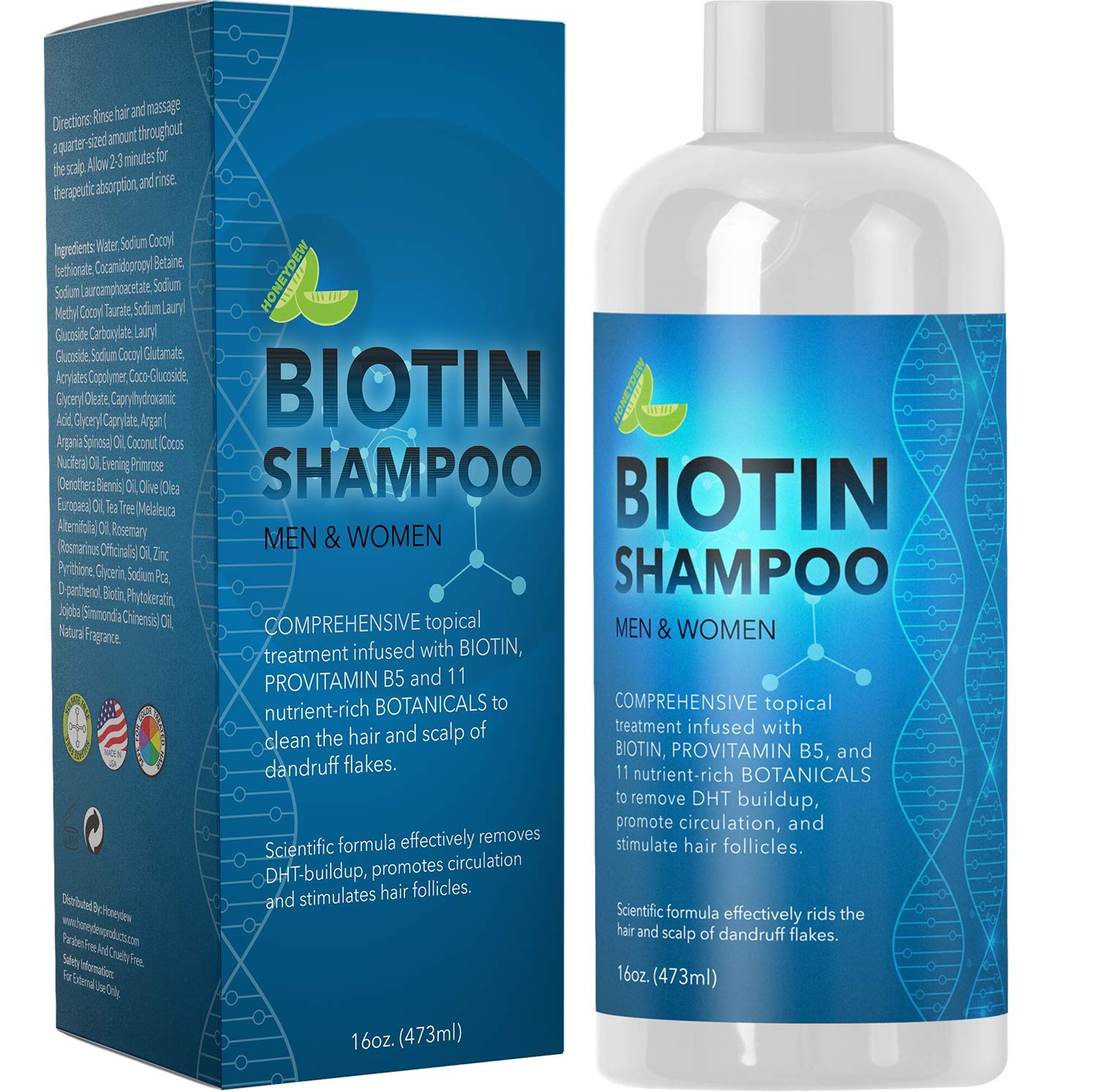 Biotin Shampoo for Hair Growth and Volume - Hair Loss for Men and Women - Natural DHT Blocker - Thickening Shampoo for Fine Hair - Pure Anti Dandruff Oils - Sulfate Free for Color Treated Hair - 16 oz by Maple Holistics (Image #1)