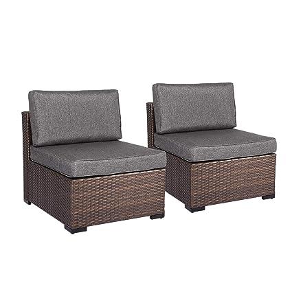 Pleasant Amazon Com Kinsunny Loveseat 2 Pcs Outdoor Patio Furniture Creativecarmelina Interior Chair Design Creativecarmelinacom