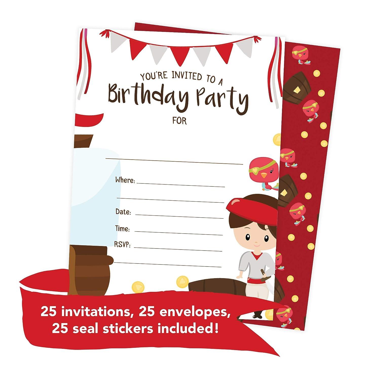 Amazon.com: Pirate Boys 1 Happy Birthday Invitations Invite Cards ...