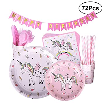 LUOEM Unicornio Happy Birthday Party Supplies Kit Pink ...