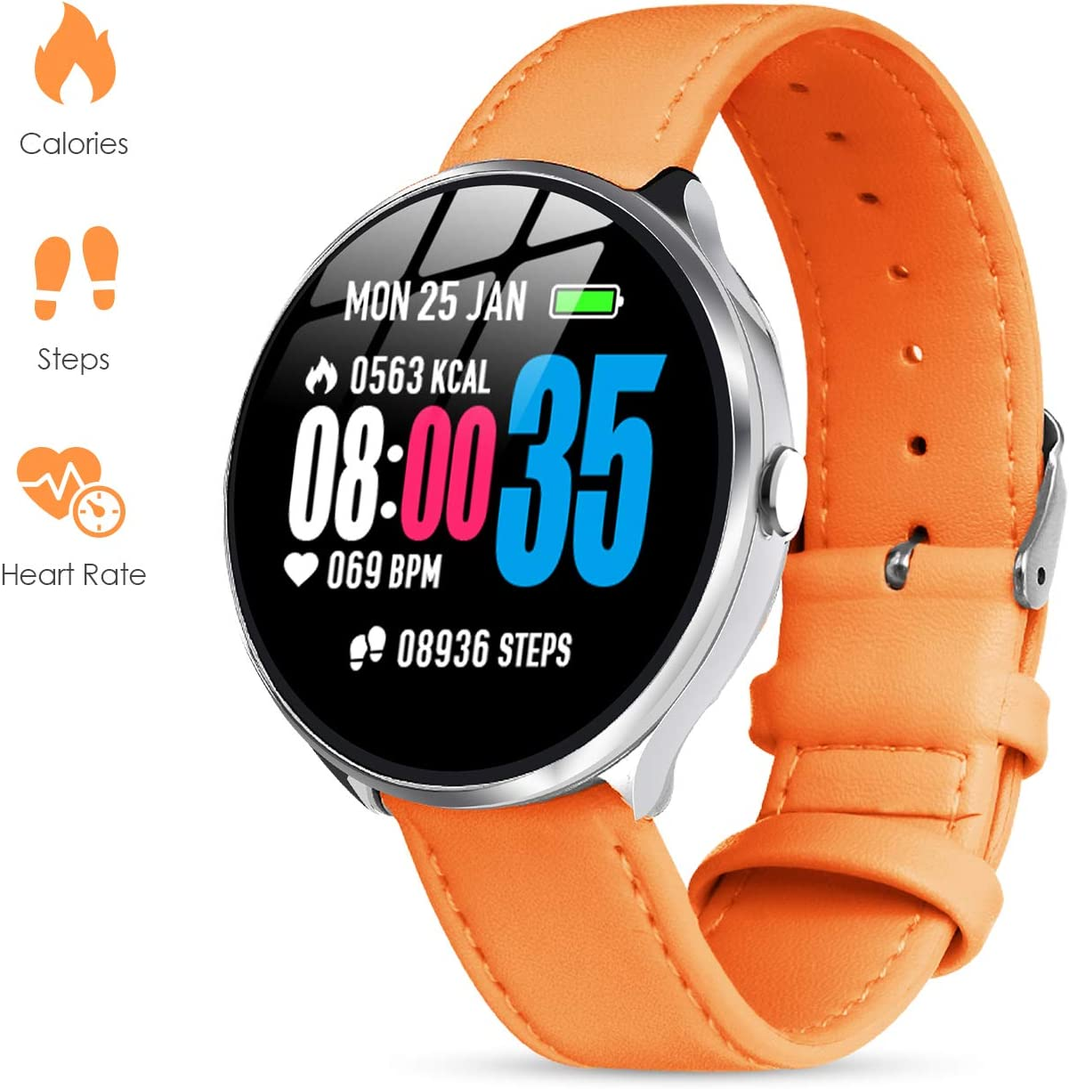 GOKOO Smart Watch for Women with All-Day Heart Rate Blood Pressure Sleep Monitor Waterproof Calorie Counter Step Reminder 1.3 inch Touchscreen Leather (Orange)