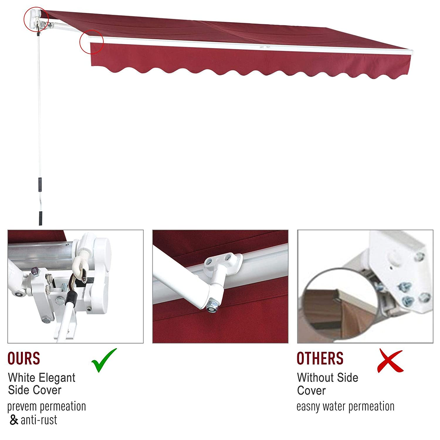 alpha-ene.co.jp Wine Red Outsunny 13X8 Manual Retractable Patio ...