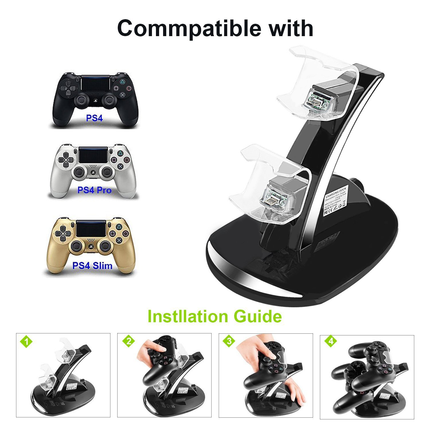 PS4 Controller Charger, DualShock 4 Dual USB Charging Charger Docking Station Stand for Sony Playstation 4 PS4 / PS4 Pro / PS4 Slim Controller - Black