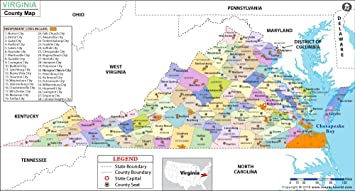 Amazon Com Virginia County Map Laminated 36 W X 19 31 H