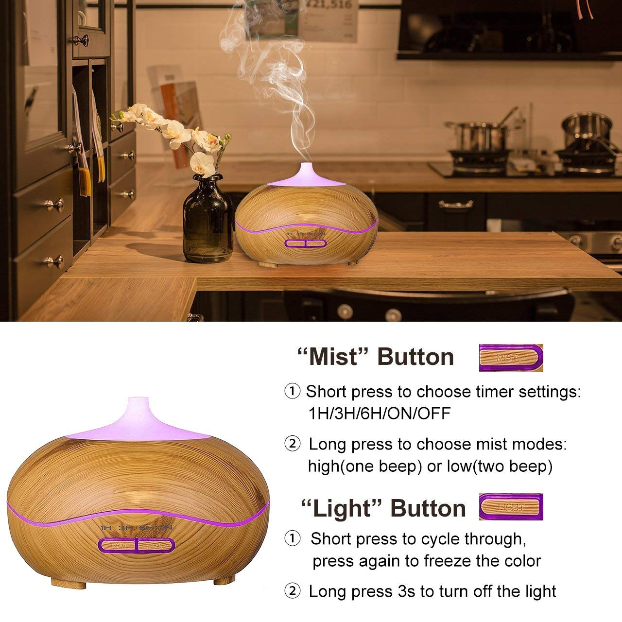 Cool Mist Ultrasonic Aroma Diffuser,7 Colour Changing LED Lights, Air Humidifier Wood Grain with Waterless Automatically Shut-off, for bedroom babyroom-WOOD …