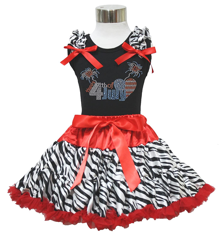 Rhinestone Patriotic Happy 4th July Black Top Red Zebra Skirt Girl Cloth 1-8y