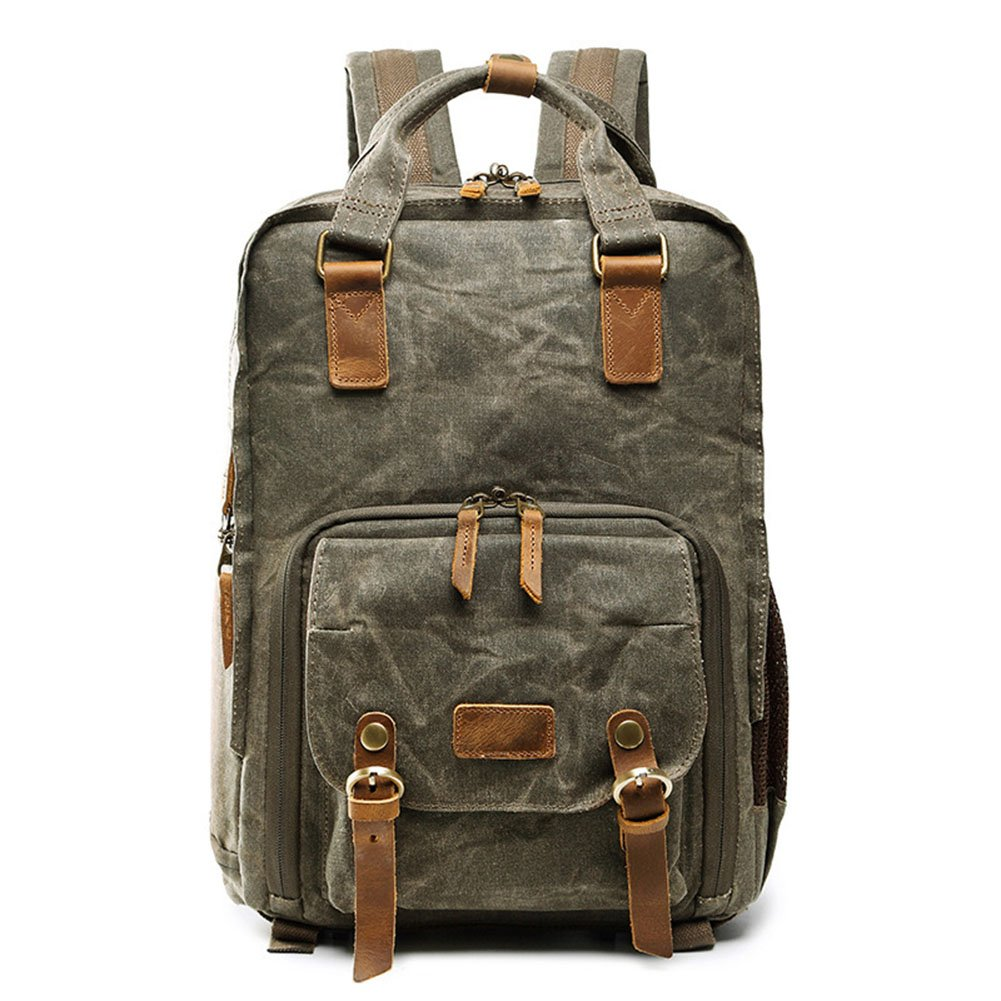 Casual Photography Bag SLR Digital Camera Bag Backpack Batik Waterproof Canvas Rucksack Bag for Sony Canon Nikon, Khaki DCRYWRX