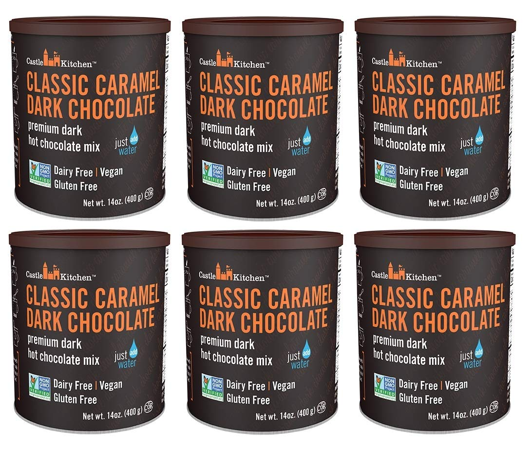 Castle Kitchen Classic Caramel Dark Chocolate Premium Hot Cocoa Mix - Dairy-Free, Vegan, Plant Based, Gluten-Free, Non-GMO Project Verified, Kosher - Just Add Water - 14 oz (Pack of 6)