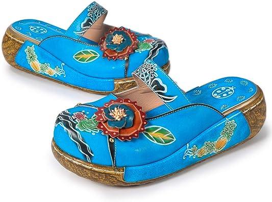 gracosy Sandales Femme Fille Blanche Rouge Vert Grille de Poiture /à Voir Espadrilles en Toile Brod/é Talon Plats Sabots Mules Pantoufle Chaussures /Ét/é