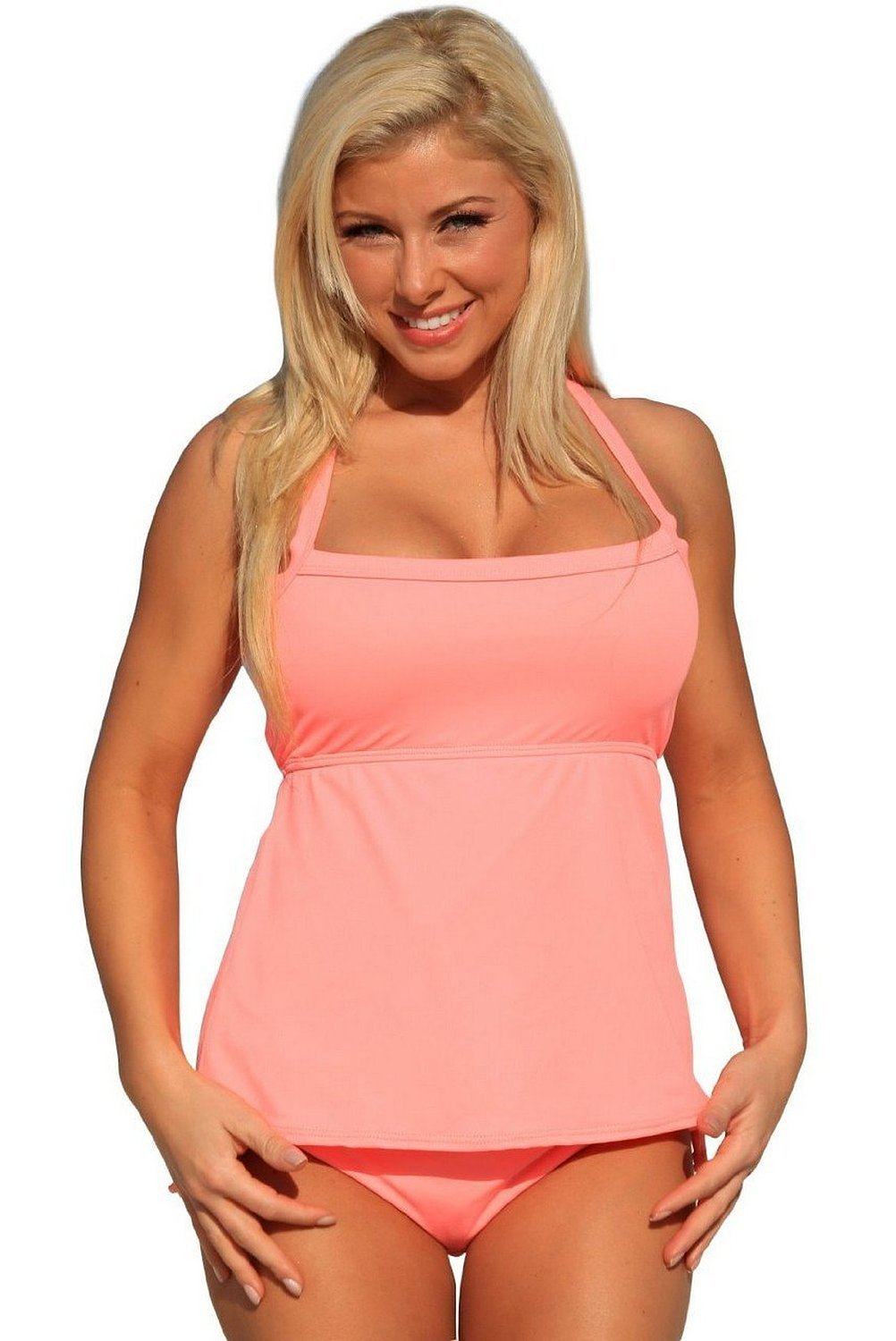 G208 Coral Full Figure Tankini Top: LL  Bottom: 1X swimsuits by UjENA