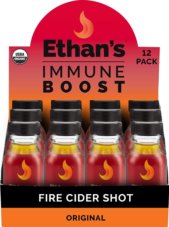 Ethan's Immune Boost Shot, Original Fire Cider Formula, Immune Support, Organic Apple Cider Vinegar Shots, ACV Supplement, Digestion Supplement, Gluten Free (12 Pack of 2oz Shots)