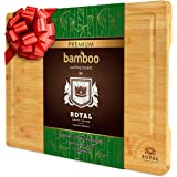EXTRA LARGE Organic Bamboo Cutting Board with Juice Groove - Best Kitchen Chopping Board for Meat (Butcher Block) Cheese…