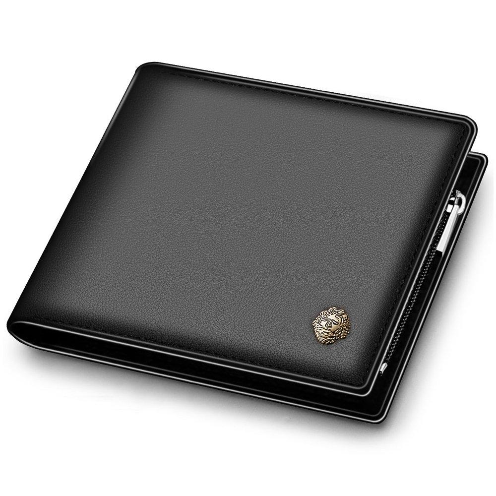 LAORENTOU Men's Genuine Leather Wallet Clutch Wallet Purse Card Holder with Zipper Pocket (BLACK)