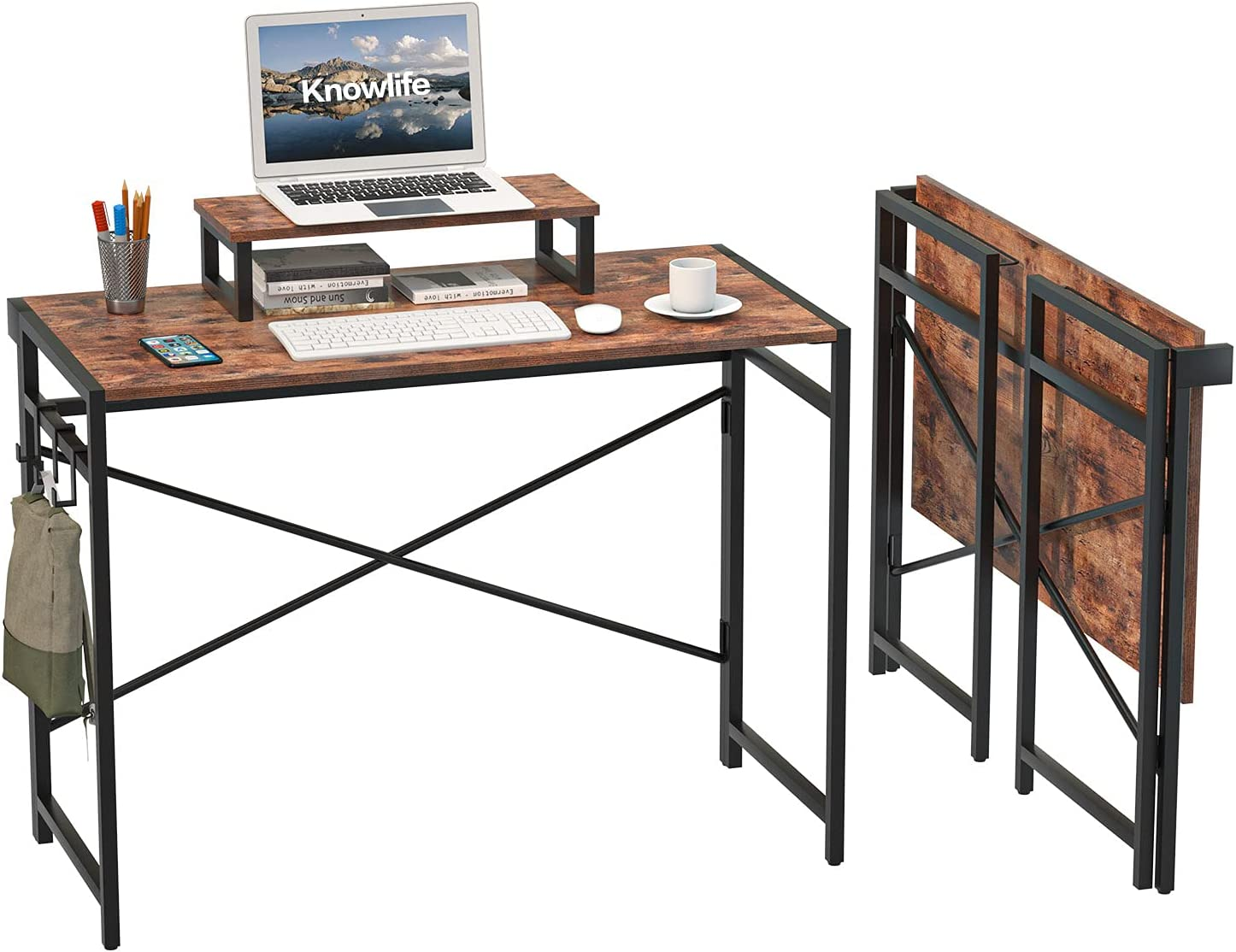 """Knowlife Small Folding Computer Desk No Assembly Required Writing Study Desk, 39"""" Collapsible Workstation with Monitor Riser and 3 Hooks, Space Saving Simple Home Office Desk for Small Space Brown"""