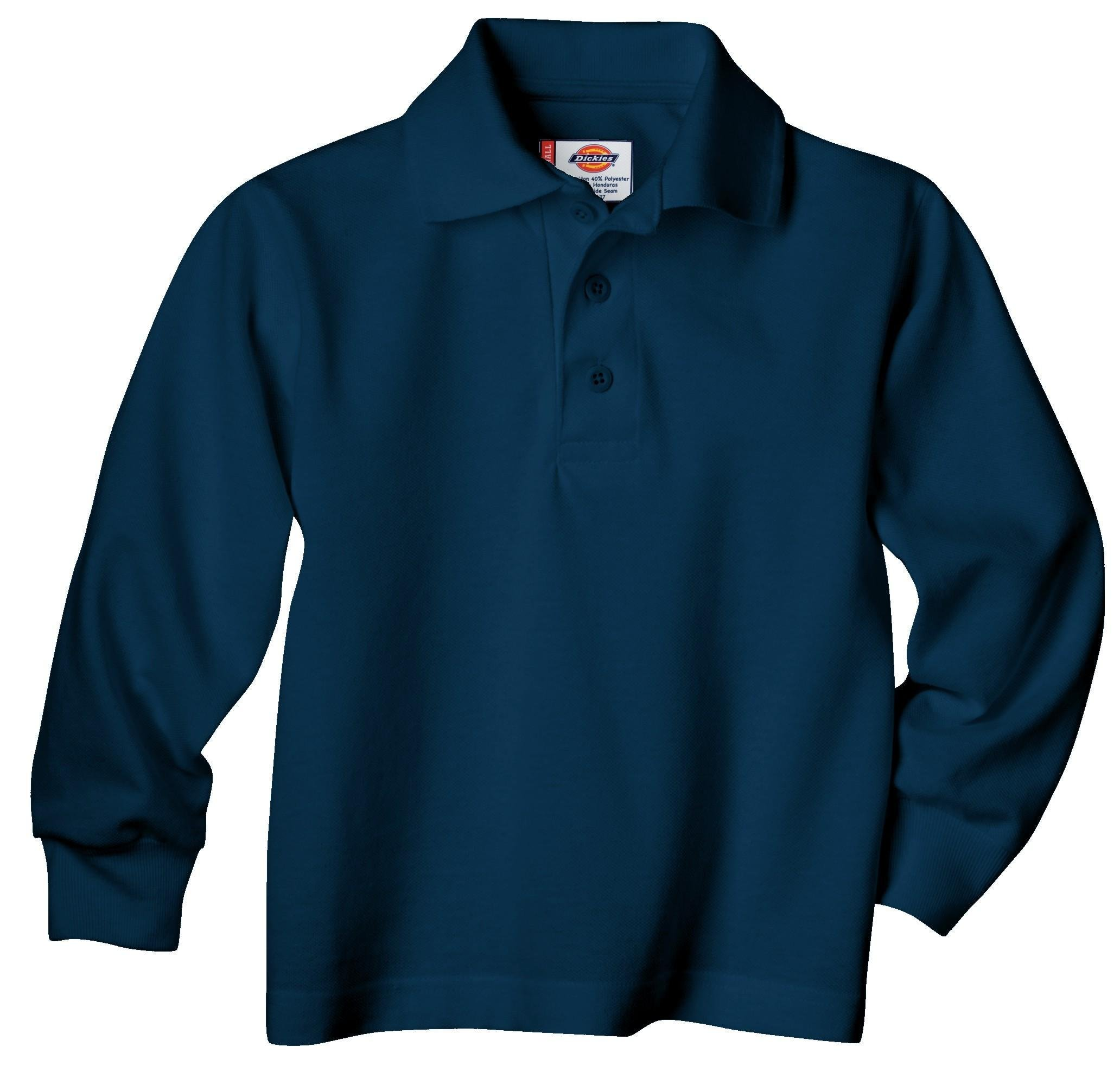Dickies Big Boys' Uniform Long Sleeve Performance Polo Shirt, Dark Navy, Small