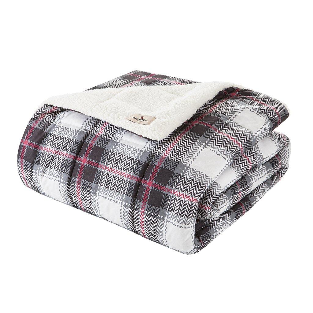 Woolrich, Inc. Ridley Softspun Down Alternative Übergroße Überwurf Decke, 127 x 177,8 cm schwarz