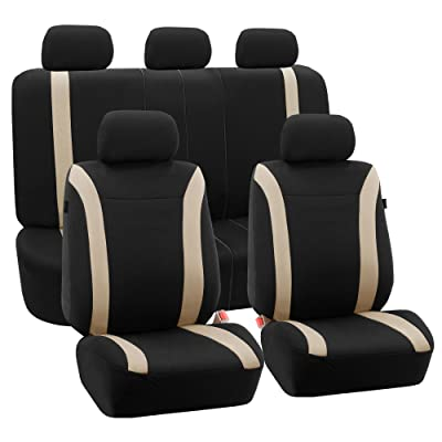 FH Group Beige FB054BEIGE115 Cosmopolitan Flat Cloth Seat Cover (Airbag Ready Split Bench Full Set): Automotive