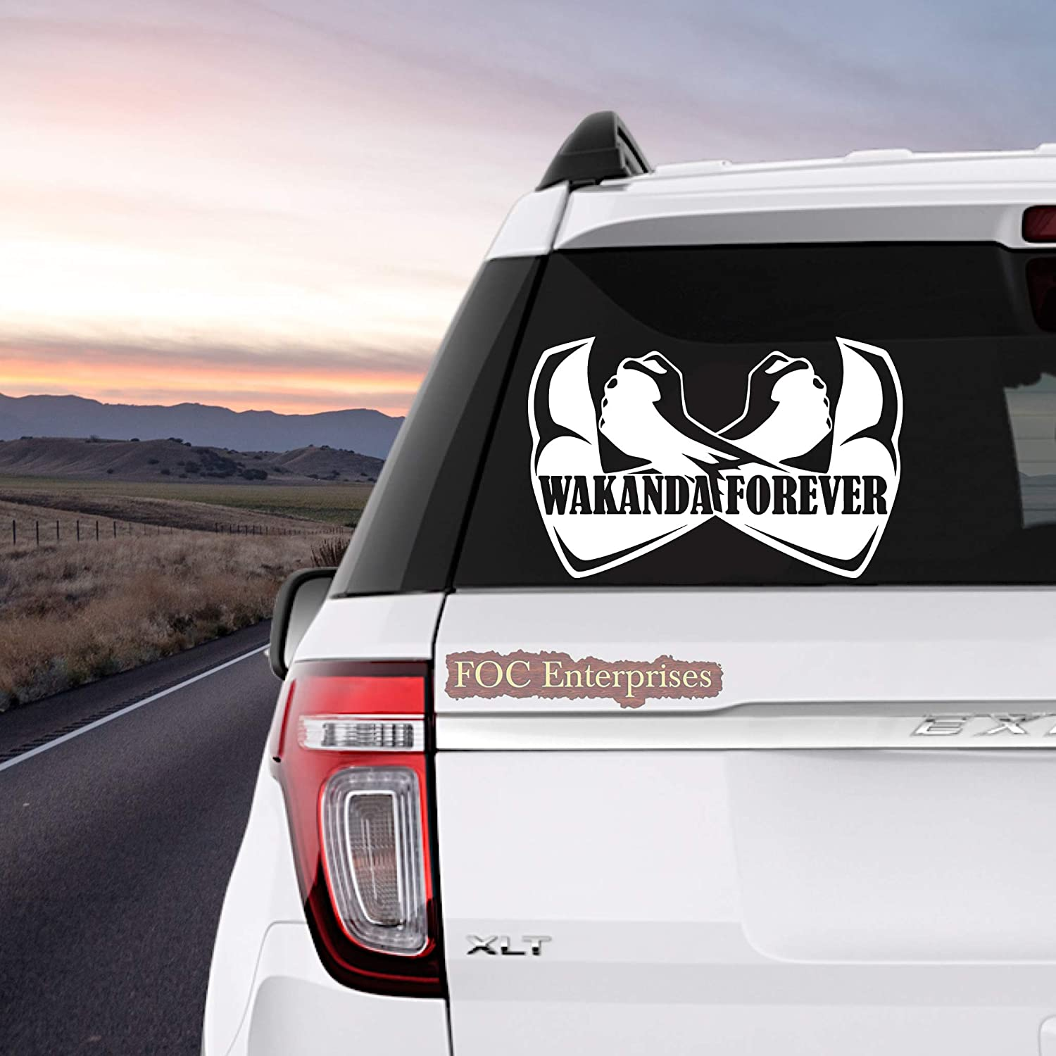 "Wakanda Forever Black Panther Decal Vinyl Sticker for MacBook Laptop Car Truck Window Bumper - Size Approx. 6.5"" inches Longer Side, White"