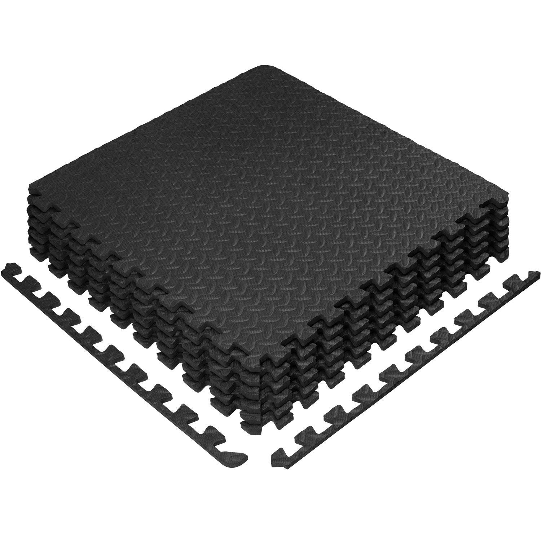 Yes4All Interlocking Exercise Foam Mats - Interlocking Floor Mats for Gym Equipment - Eva Interlocking Floor Tiles (24 Square Feet - Black - 6 pcs)