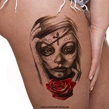 1 X Frau Schädel Totenkopf Rose Tattoo Fake Temporäres Einmal
