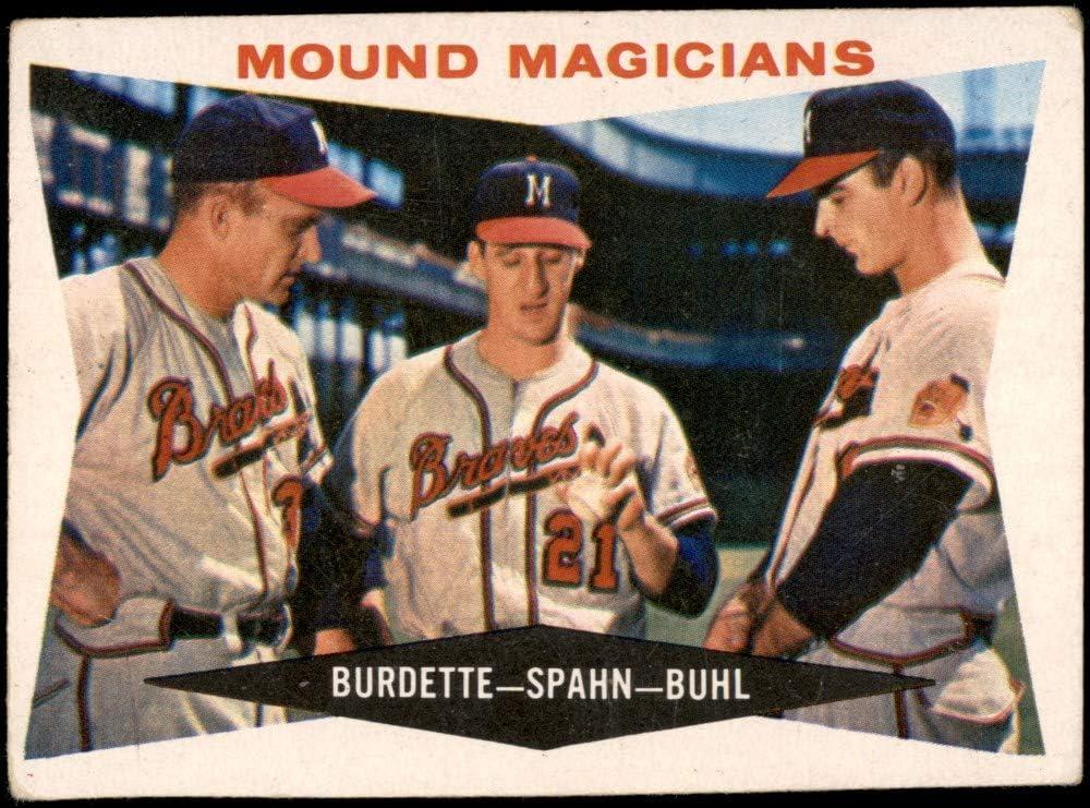 Baseball Card 1960 Topps # 230 Mound Magicians Lew Burdette // Warren Spahn // Bob Buhl Milwaukee Braves Deans Cards 2 GOOD Braves